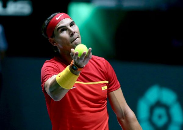 19 November 2019, Spain, Madrid: Tennis, Group B, Russia - Spain, Individual, Khachanov (Russia) - Nadal (Spain). Rafael Nadal in action. PHOTO | AFP