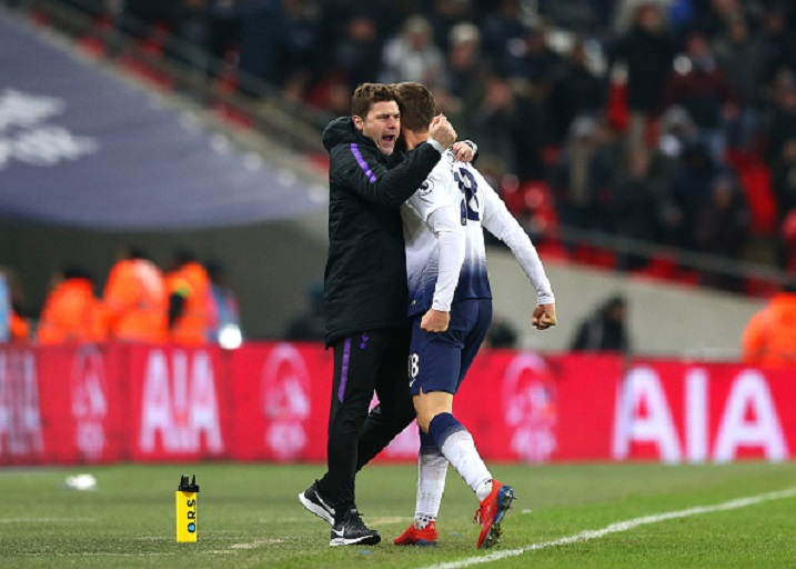 30th January 2019, Wembley Stadium, London England; EPL Premier League football, Tottenham Hotspur versus Watford; Fernando Llorente of Tottenham Hotspur celebrates with Tottenham Hotspur Manager Mauricio Pochettino near the touchline after scoring his sides 2nd goal in the 87th minute to make it 2-1. PHOTO/GettyImages