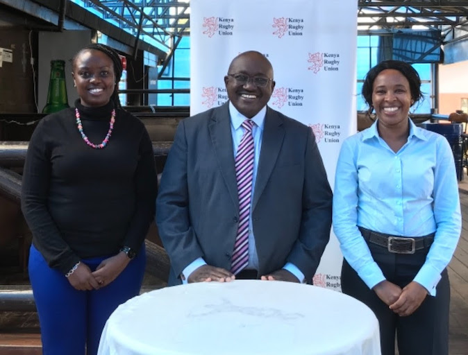 In this photo provided by Kenya Rugby Union, newly co-opted Directors, Peris Mukoko (left) and Wangui Kibe (right) pose with Chairman Oduor Gangla. PHOTO/Courtesy/KRU