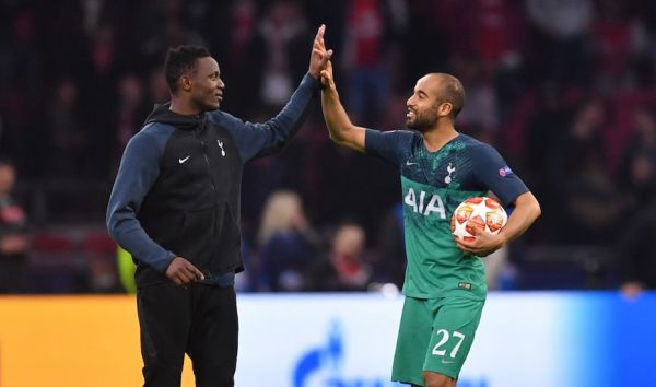 Lucas Moura (right) cheers their UEFA Champions League semi final victory with Victor Wanyama after Tottenham Hotspur FC beat Ajax Amsterdam FC 3-2 at the Johan Cruyff Arena on Wednesday, May 8, 2019. PHOTO/AFP