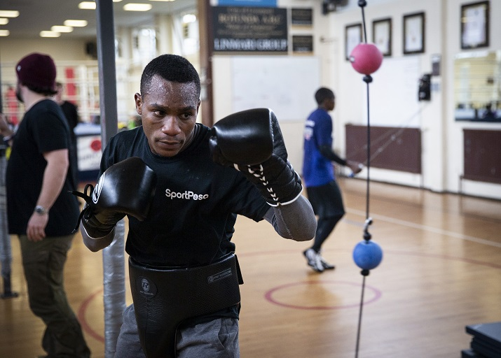 : Tanzania boxing sensation Hassan Mwakinyo steps up training in Liverpool, United Kingdom ahead of his bout at Kenyatta International Convention Centre in Nairobi, Kenya on March 23, 2019. PHOTO/SPN