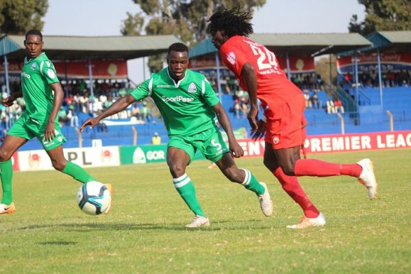 Action between KPL champions Gor Mahia FC (Green) and SportPesa Shield champions Bandari FC at Kenyatta Stadium in Machakos on August 18,2019. PHOTO/ BANDARI FC