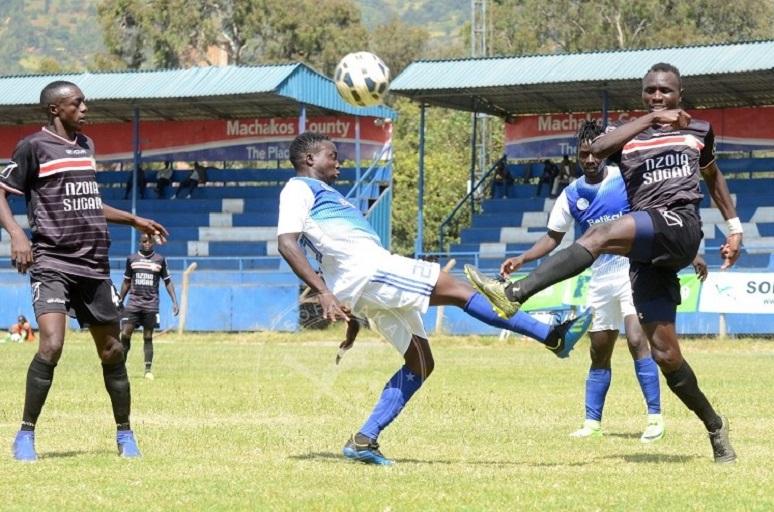Action between Sofapaka FC and Nzoia Sugar FC (Black jerseys) at Kenyatta Stadium in Machakos on February 7 , 2018.PHOTO/SOFAPAKA FC