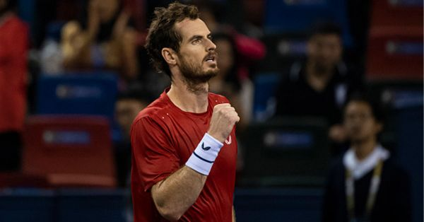 Andy Murray of Great Britain celebrates his victory over Juan Ignacio Londero of Argentina in the first round of the Rolex Shanghai Masters at Qi Zhong Tennis Centre on October 07, 2019 in Shanghai, China. PHOTO/ GETTY IMAGES