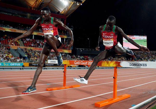 Conseslus Kipruto and Abraham Kibiwott of Kenya.