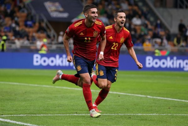 Ferran Torres of Spain celebrates with team mates after scoring to give the side a 1-0 lead during the UEFA Nations League match at Giuseppe Meazza, Milan. PHOTO | Alamy