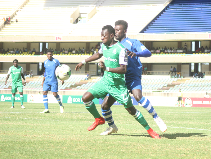 Gor Mahia FC forward Francis Mustafa in action during their CAF Confederations Cup playoff round match against New Star de Douala.PHOTO/FKF