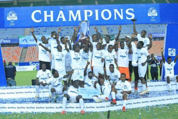 HAIL THE NEW KINGS: Kariobangi Sharks FC players lift the 2019 SportPesa Cup trophy following their 1-0 victory over fellow SPL side Bandari FC at the National Main Stadium, Dar-es-Salaam, Tanzania on January 27, 2019. PHOTO/SPN