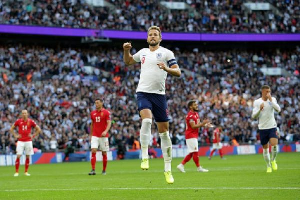 Harry Kane of England celebrates after he scores a goal from the spot and his hat-trick to make it 4-0 during the UEFA Euro 2020 qualifier match between England and Bulgaria at Wembley Stadium on September 07, 2019 in London, England. PHOTO/ GETTY IMAGES