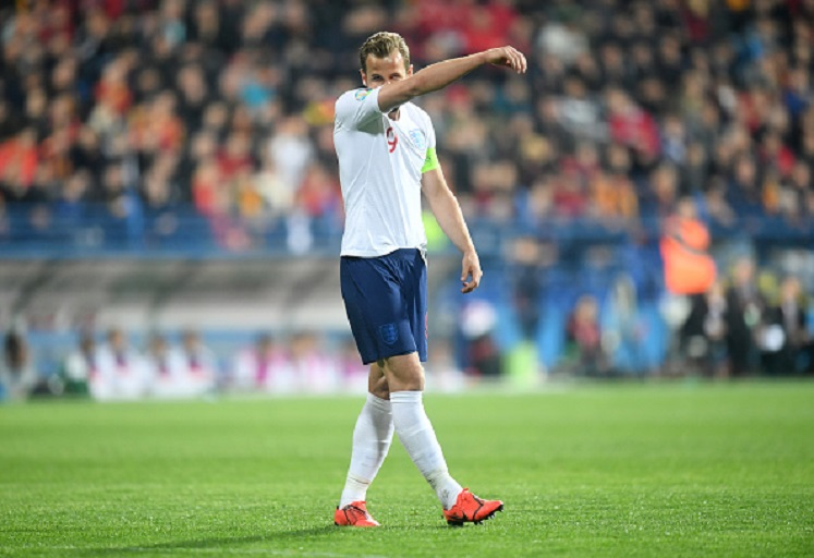 Harry Kane of England reacts during the 2020 UEFA European Championships Group A qualifying match between Montenegro and England at Podgorica City Stadium on March 25, 2019 in Podgorica, Montenegro.PHOTO/ GETTY IMAGES