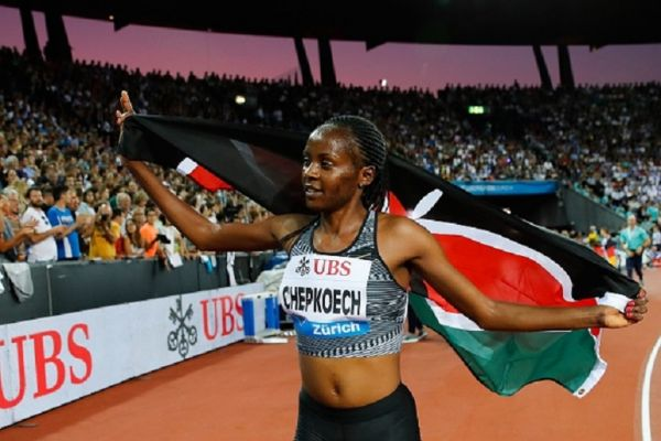 Kenya's Beatrice Chepkoech celebrates after winning the Women 3000m Steeplechase during the IAAF Diamond League competition on August 29, 2019, in Zurich. PHOTO/ GETTY IMAGES