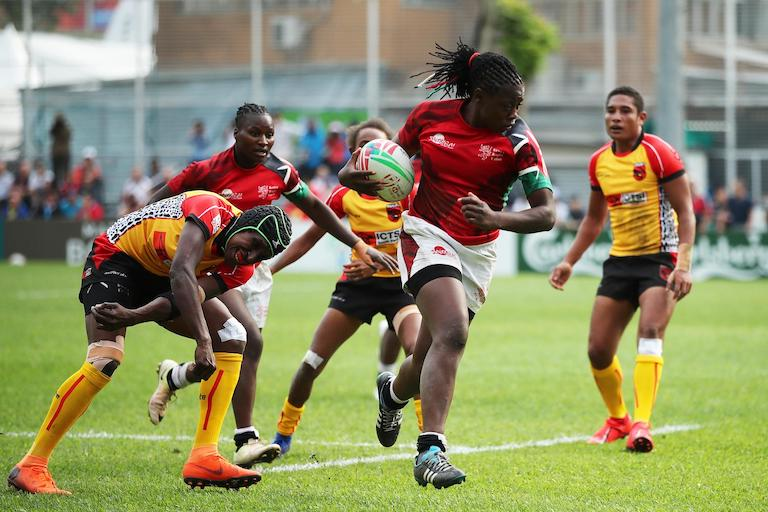 Kenya's Sheilla Chajira cuts through the Papua New Guinea defense on day one of the World Rugby Women's Sevens Series Qualifier in Hong Kong on 4 April, 2019. PHOTO/Mike Lee/KLC fotos for World Rugby
