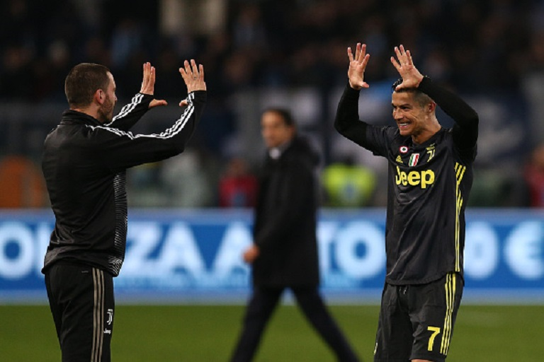 Leonardo Bonucci of Juventus, Cristiano Ronaldo of Juventus during the Italian Serie A match between Lazio v Juventus at the Stadio Olimpico Rome on January 27, 2019 in Rome Italy.PHOTO/GETTY IMAGES