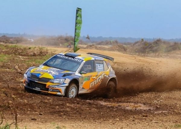 Manvir Baryan in action with his Skoda Fabia R5 during the second day of the KCB Kenya National Rally Championship Kilifi. Manvir, the reigning African Rally Champion won the fourth round of the KCB KNCR.PHOTO/ SPN