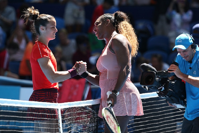 Maria Sakkari of Greece and Serena Williams of the United States shake hands at the net following their match during day three of the 2019 Hopman Cup at RAC Arena on December 31, 2018 in Perth, Australia. PHOTO/GettyImages