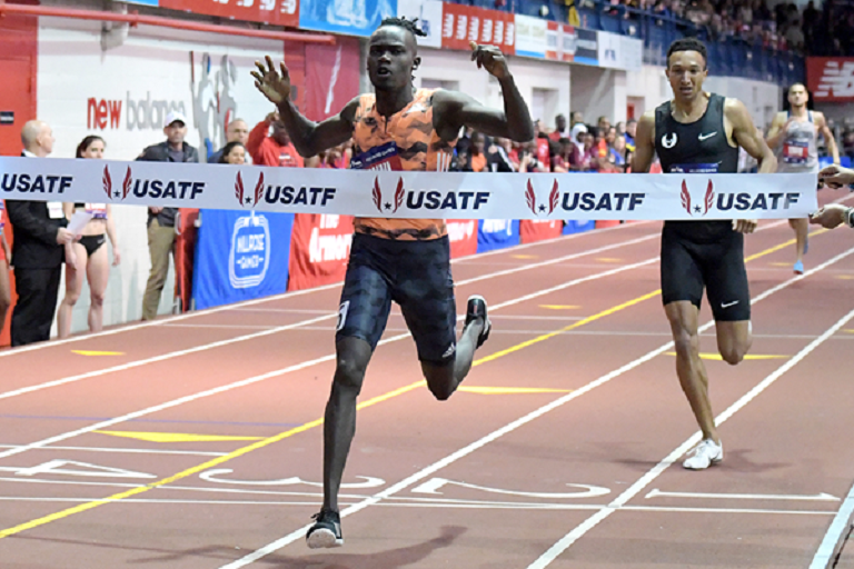 Michael Saruni wins the 800m at the Millrose Games.PHOTO/IAAF