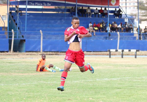 Mwanahalima Adam celebrates her goal during Kenya versus Ethiopia friendly encounter at Kenyatta Stadium in Machakos on August 17, 2019. PHOTO/ FKF