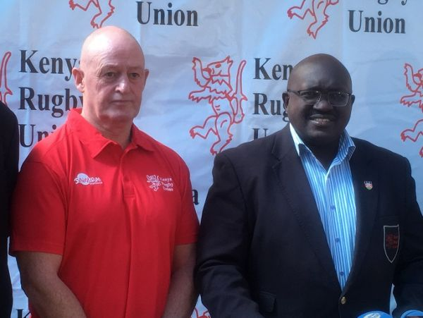 New Zealander Paul Feeney (left) during his unveiling at the KRU offices in Nairobi as Kenya's national technical director of rugby on September 20, 2019. PHOTO/ KRU