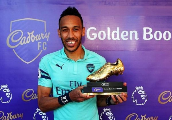 Pierre-Emerick Aubameyang shared the Golden Boot after scoring twice as Arsenal ended the domestic season on a high with an away victory at Burnley on May 12, 2019. PHOTO/ARSENAL FC