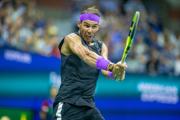 Rafael Nadal of Spain in action against Marin Cilic of Croatia in the Men's Singles round four match on Arthur Ashe Stadium during the 2019 US Open Tennis Tournament at the USTA Billie Jean King National Tennis Center on September 2nd, 2019 in Flushing, Queens, New York City. PHOTO/ GETTY IMAGES