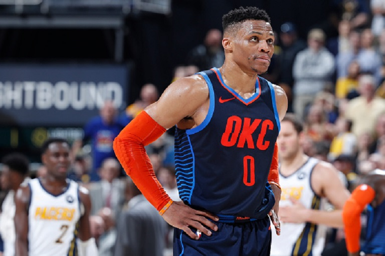 Russell Westbrook #0 of the Oklahoma City Thunder reacts in the fourth quarter of the game against the Indiana Pacers at Bankers Life Fieldhouse on March 14, 2019 in Indianapolis, Indiana. PHOTO/GettyImages