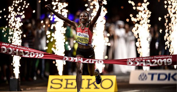 Ruth Chepngetich of Kenya celebrates winning the Women's Marathon during day one of the World Athletics Championships 2019 at the Corniche in Doha, Qatar. PHOTO/ GETTY IMAGES