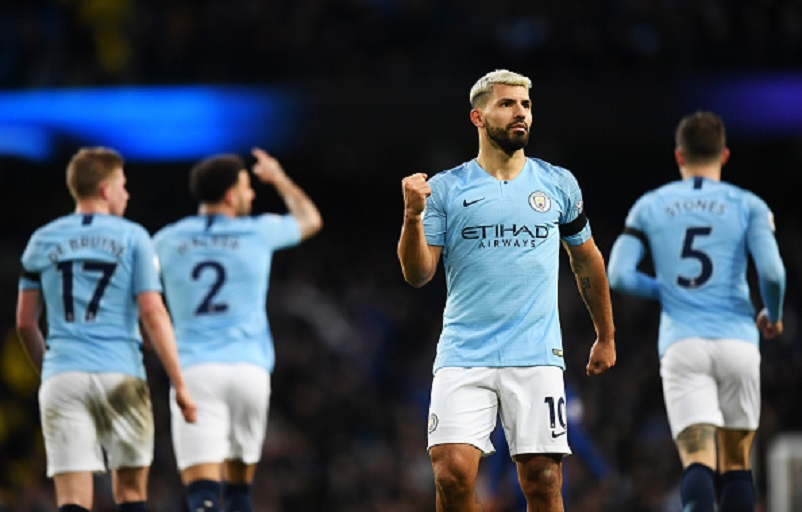 Sergio Aguero of Manchester City celebrates after scoring his team's fifth goal during the Premier League match between Manchester City and Chelsea FC at Etihad Stadium on February 10, 2019 in Manchester, United Kingdom. PHOTO/GettyImages