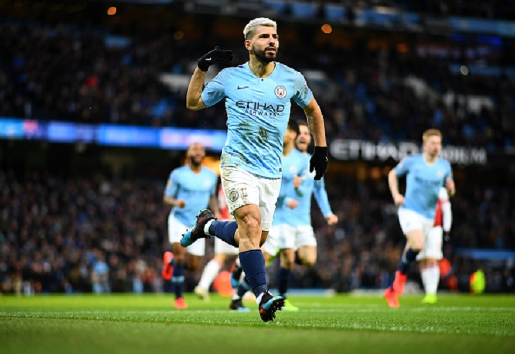 Sergio Aguero of Manchester City celebrates his first goal during the Premier League match between Manchester City and Arsenal FC at Etihad Stadium on February 03, 2019 in Manchester, United Kingdom. PHOTO/GettyImages