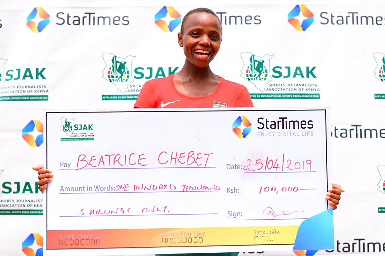 World Junior Cross Country Champion Beatrice Chebet after she was presented with the SJAK/ StarTimes Sports Personality Of The Monthly Award for March 2019 in Kericho on April 25, 2019.PHOTO/ SPN