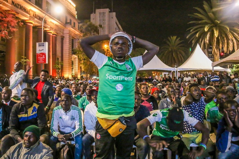 A Gor Mahia FC fan expresses his dismay after his team conceded against Everton FC in their SportPesa Trophy clash at Goodison Park during the public viewing at Archives, Nairobi Central District on Tuesday, November 6, 2018. PHOTO/Brian Kinyanjui/SPN