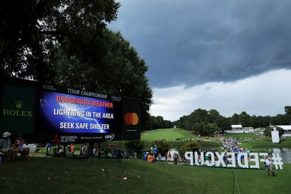 A leaderboard displays a warning as play is suspended due to inclement weather during the third round of the TOUR Championship at East Lake Golf Club on August 24, 2019 in Atlanta, Georgia. PHOTO | AFP