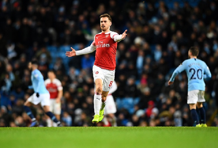 Aaron Ramsey of Arsenal in action during the Premier League match between Manchester City and Arsenal FC at Etihad Stadium on February 03, 2019 in Manchester, United Kingdom. PHOTO/GettyImages