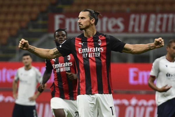 AC Milan's Swedish forward Zlatan Ibrahimovic celebrates after scoring his team's second goal on a penalty kick during the Italian Serie A football match AC Milan vs Bologne at the San Siro stadium in Milan on September 21, 2020. PHOTO | AFP
