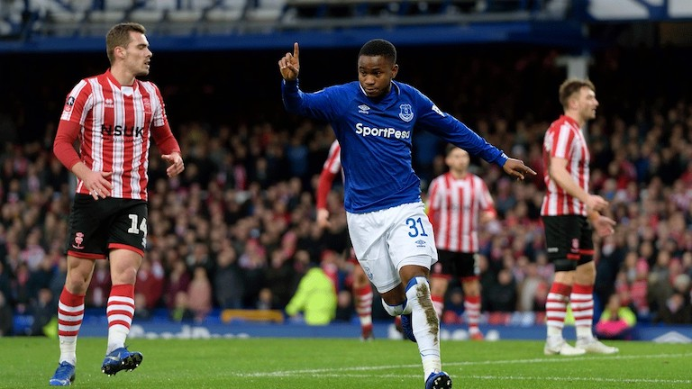 Ademola Lookman celebrates scoring for Everton FC against Lincoln City in their FA Cup third round clash at Goodison Park on Saturday, January 5, 2018. PHOTO/Everton FC