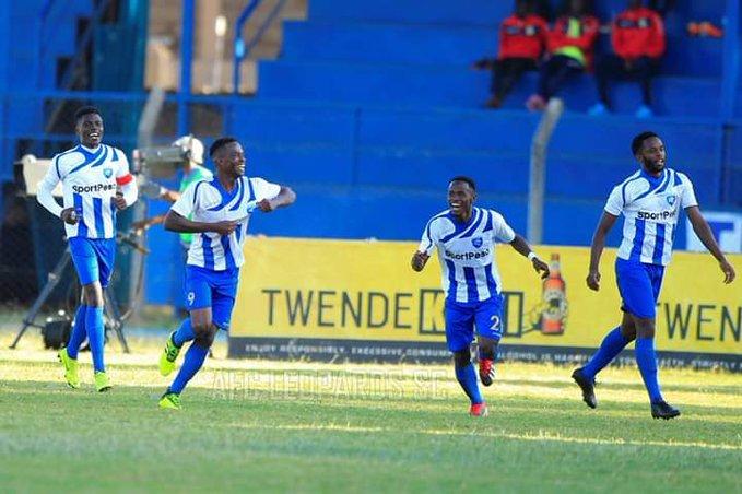 AFC Leopards SC players celebrate scoring against Western Stima FC in their SportPesa Premier League match at Kenyatta Stadium, Machakos on March 23, 2019. PHOTO/AFC Leopards SC
