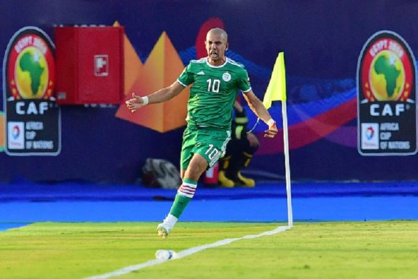 Algeria's midfielder Sofiane Feghouli celebrates after scoring a goal during the 2019 Africa Cup of Nations (CAN) quarter final football match between Ivory Coast and Algeria at the Suez stadium in Suez on July 11, 2019. PHOTO/ GETTY IMAGES