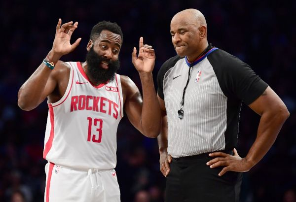 ames Harden #13 of the Houston Rockets talks to official Marat Kogut during the first half of their game against the Brooklyn Nets at Barclays Center on November 01, 2019 in the Brooklyn borough New York City. PHOTO | AFP