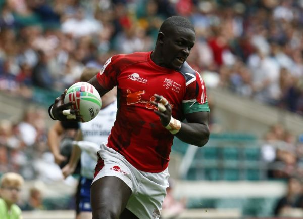 Andrew Amonde of Kenya during The HSBC World Rugby Sevens Series 2019 London 7s Challenge Trophy Quarter Final Match 28 between Kenya and Scotland at Twickenham on 26 May 2019. PHOTO | AFP
