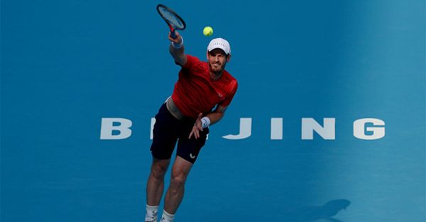 Andy Murray of Great Britain serve against Matteo Berrettini of Italy during the Men's singles first round of 2019 China Open at the China National Tennis Center on October 1, 2019 in Beijing, China. PHOTO/ GETTY IMAGES