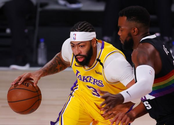 Anthony Davis #3 of the Los Angeles Lakers drives the ball during the first quarter against the Denver Nuggets in Game Four of the Western Conference Finals during the 2020 NBA Playoffs at AdventHealth Arena at the ESPN Wide World Of Sports Complex on September 24, 2020 in Lake Buena Vista, Florida. PHOTO | AFP