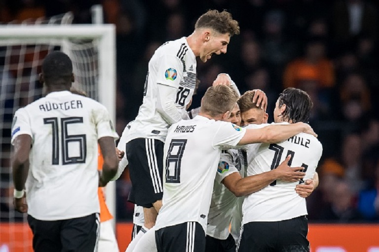 Antonio Rudiger of Germany ,Leon Goretzka of Germany, Toni Kroos of Germany, Serge Gnabry of Germany , Joshua Kimmich of Germany, Nico Schulz of Germany during the UEFA EURO 2020 qualifier group C qualifying match between The Netherlands and Germany at the Johan Cruijff Arena on March 24, 2019 in Amsterdam, The Netherlands. PHOTO/GettyImages