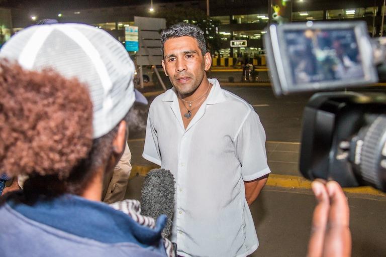 Argentine professional, Sergio Eduardo 'El Tigre' Gonzalez speaks upon arrival at the Jomo Kenyatta International Airport for his Nairobi Fight Night showdown against Hassan Mwakinyo on Wednesday, March 20, 2019. PHOTO/SPN