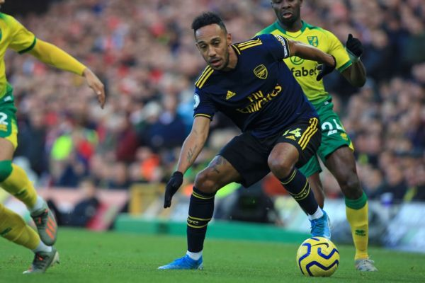 Arsenal's Gabonese striker Pierre-Emerick Aubameyang controls the ball during the English Premier League football match between Norwich City and Arsenal at Carrow Road in Norwich, eastern England on December 1, 2019. PHOTO | AFP