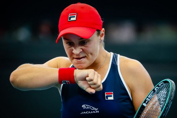 Ashleigh Barty of Australia reacts after a point against Jennifer Brady of the US during their women's singles match at the Brisbane International tennis tournament in Brisbane on January 9, 2020. PHOTO | AFP