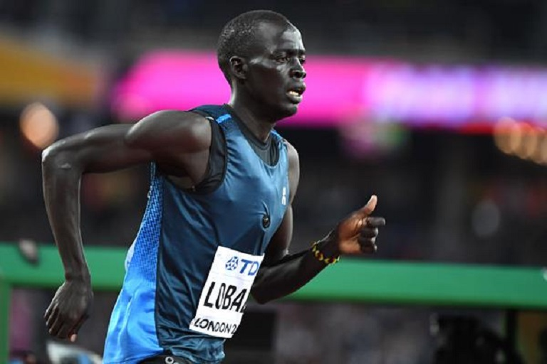 Athlete Refugee Team member Dominic Lokinyomo at the IAAF World Championships London 2017 PHOTO/AFP / GETTY IMAGES