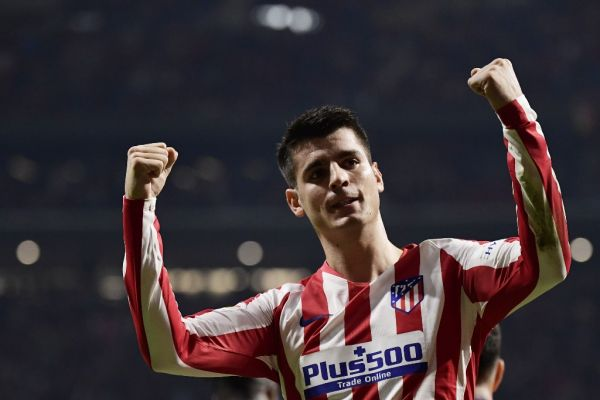 Atletico Madrid's Spanish forward Alvaro Morata celebrates his goal during the Spanish league football match between Club Atletico de Madrid and Athletic Club Bilbao at the Wanda Metropolitano stadium in Madrid on October 26, 2019. PHOTO | AFP