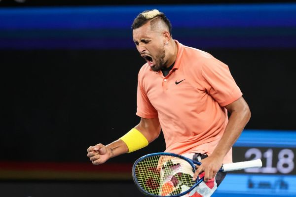 Australia's Nick Kyrgios celebrates after victory against France's Gilles Simon during their men's singles match on day four of the Australian Open tennis tournament in Melbourne on January 23, 2020. PHOTO | AFP