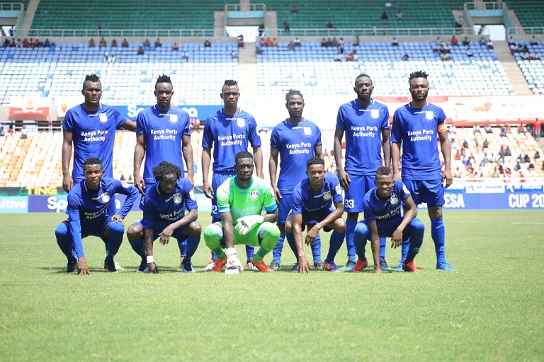 Bandari FC line-up against Simba SC in the semi finals of the 2019 SportPesa Cup in Dar-es-Salaam, Tanzania on Friday, January 25, 2018 at the National Main Stadium in Dar-es-Salaam, Tanzania. PHOTO/SPN