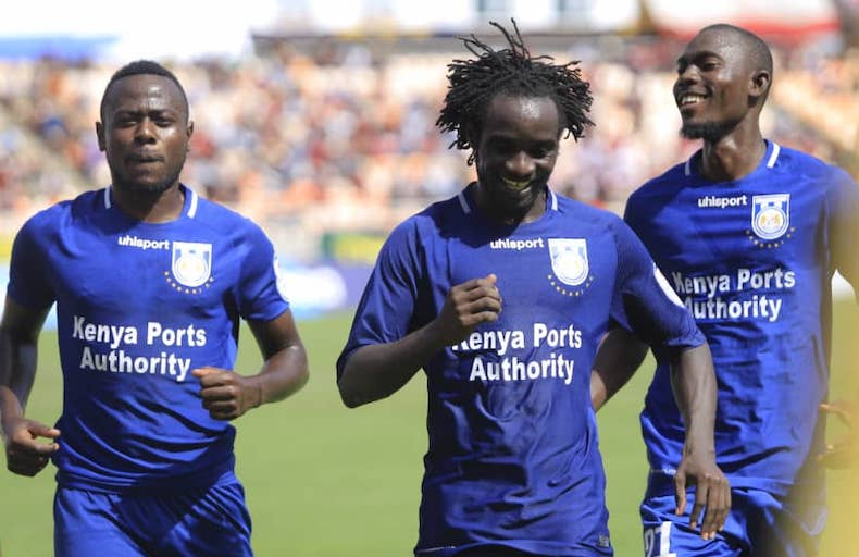Bandari FC midfielder, William Wadri (centre) leads his teammates in celebrating his goal in their 2019 SportPesa Cup semi final against Simba SC at the National Main Stadium, Dar-es-Salaam on January 25, 2019. PHOTO/SPN
