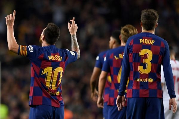 Barcelona's Argentine forward Lionel Messi celebrates his goal during the Spanish league football match between FC Barcelona and Sevilla FC at the Camp Nou stadium in Barcelona on October 6, 2019. PHOTO | AFP